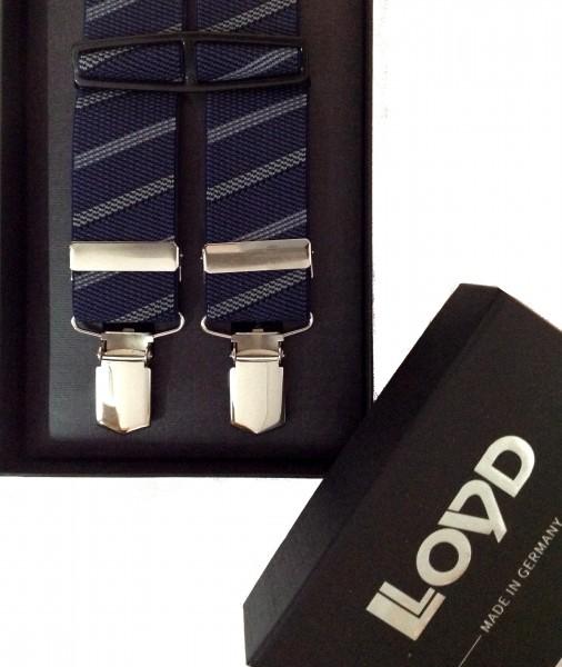 Hosenträger von Lloyd blau gestreift Klippverschluss
