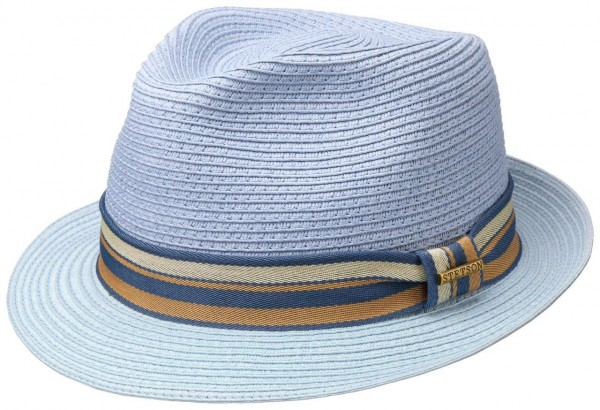 Stetson Sommer Trilby Strohhut Toyo blau